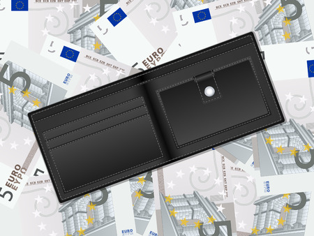 billfold: Wallet on five euro banknotes background. Vector illustration.