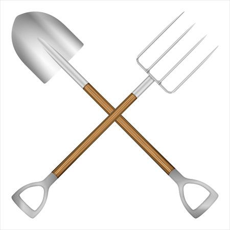 Shovel and pitchfork on a white background. Vector illustration. Vector