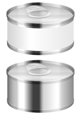 tinned: Metal tin can on a white background.
