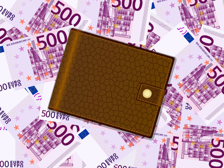 billfold: Wallet on a five hundred euro banknotes background. Vector illustration.