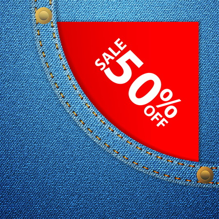 Sale off tag in blue denim pocket. Vector