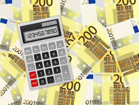 Calculator on a two hundred euros background.  Vector