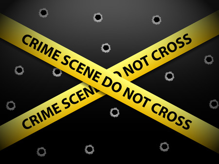 Yellow crime scene tape on a metal background. Vector