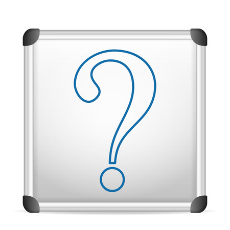interrogative: whiteboard question on a white background. Illustration