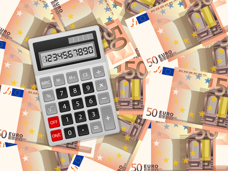 calculator money: Calculator on a fifty euros background. Illustration