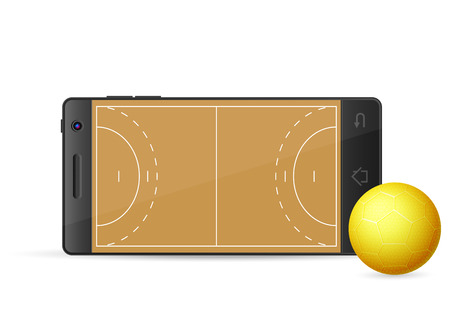 terrain de handball: Intelligente handball de t�l�phone sur un fond blanc. Vector illustration.