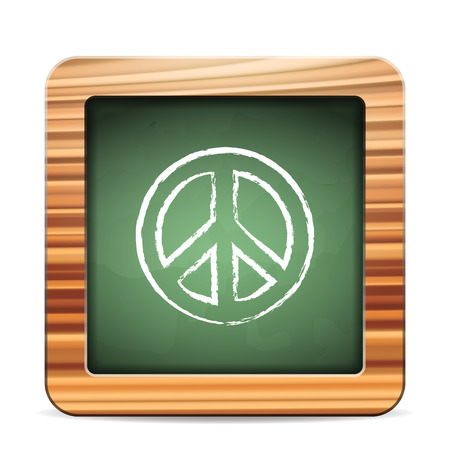 Blackboard peace sign on a white background Vector