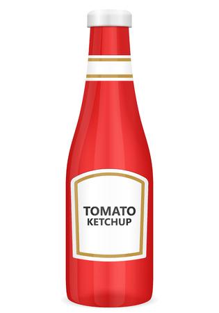 pomidory: Ketchup butelka na białym tle.