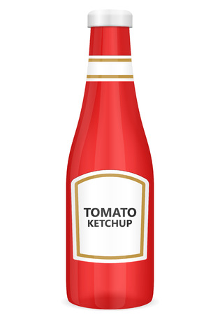 Tomato ketchup bottle on a white background.