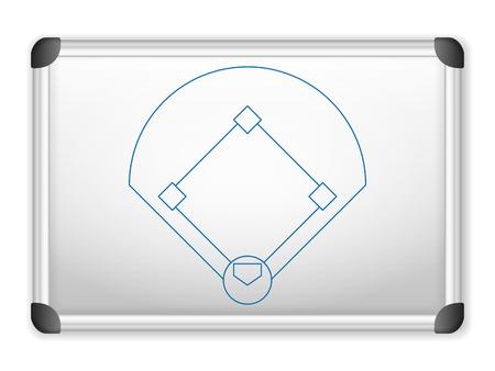 baseball field: Sport field plan on whiteboard.