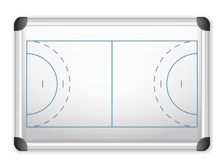 terrain de handball: plan de Terrain de sport sur tableau blanc. Illustration