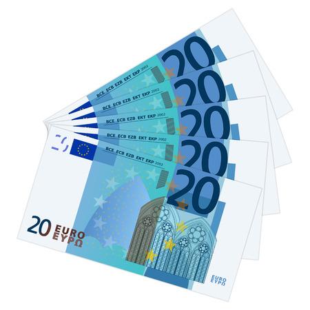 dinero euros: Veinte billetes de banco en un fondo blanco ilustración.