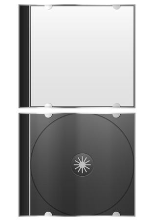 Compact disc case on white background.