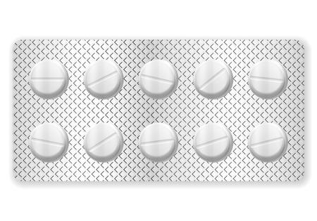 blisters: Blister pillola medicina su uno sfondo bianco. Vettoriali
