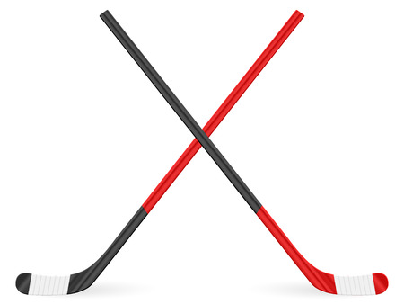 Hockey stick on a white background. Vector