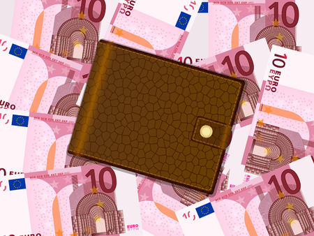 billfold: Wallet on ten euro banknotes background.