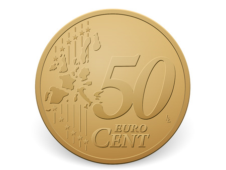 cent: Fifty euro cent coin on a white . Illustration