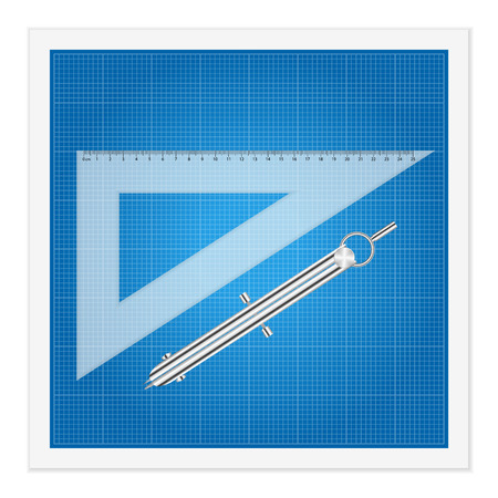 Blueprint and ruler instruments on a white . Vector