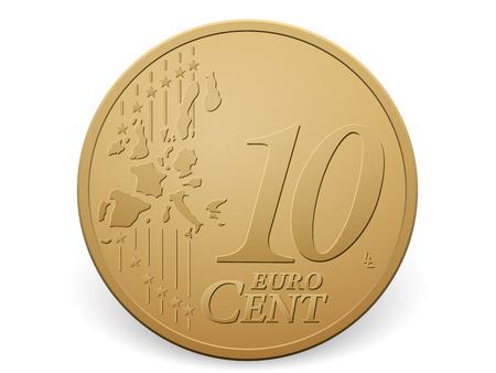 Ten euro cent coin on a white . Vettoriali