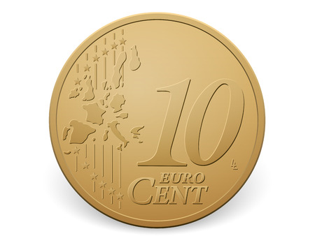 cent: Ten euro cent coin on a white . Illustration