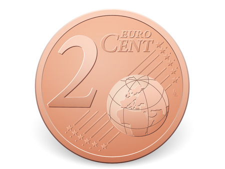 cent: Two euro cent coin on a white .
