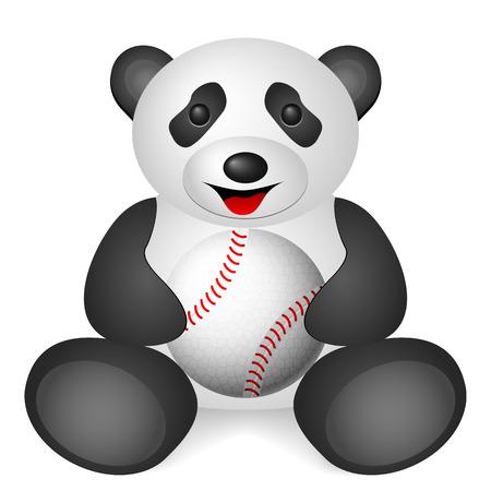 Panda baseball ball on a white background. Vector