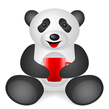 Panda coffee cup on a white background. Vector