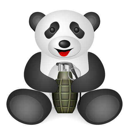 grenade: Panda grenade on a white background.
