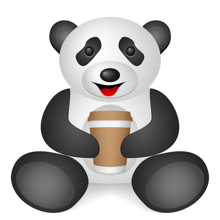Panda paper coffee cup on a white background. Vector