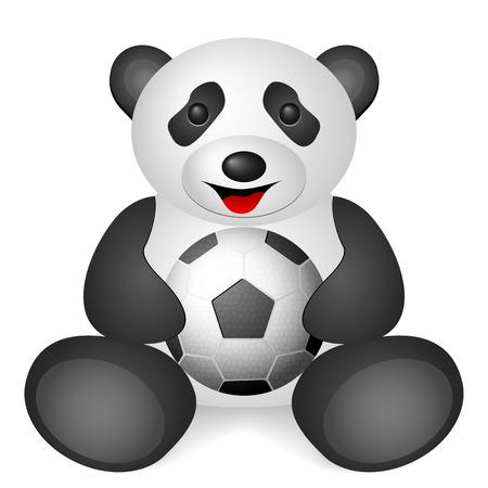 Panda soccer ball on a white background. Vector