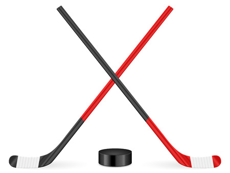 Hockey puck and stick on a white background.