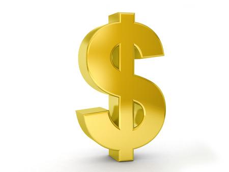 signos de pesos: Símbolo del dólar de oro sobre un fondo blanco.