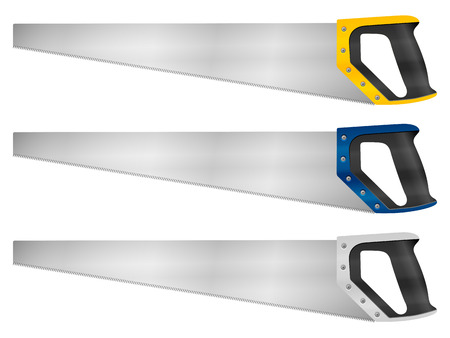 handsaw: Hand saw set on a white background. Illustration