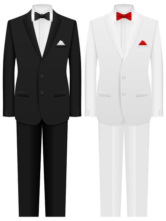 costumes: Men formal suit on a white background. Illustration