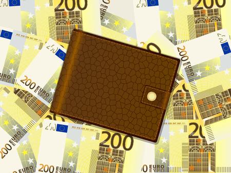 billfold: Wallet on a two hundred euro banknotes background. Vector illustration. Illustration