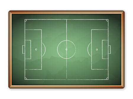 football coach: Sport field plan on blackboard. Illustration