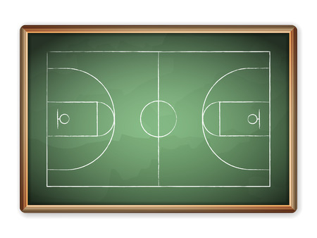tactic: Sport field plan on blackboard. Illustration