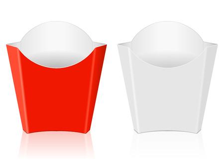 comida rapida: Franc�s caja de papel papas fritas sobre un fondo blanco. Vectores