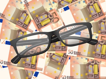 Reading glasses on fifty euros background. Vector illustration. Vector
