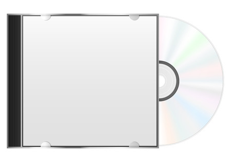 Compact disc case and CD on a white background. Ilustração