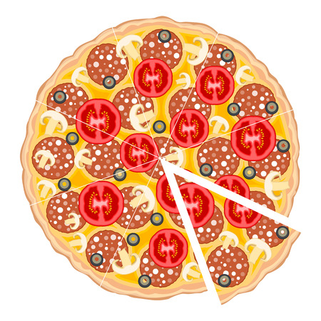 Delicious pizza isolated on white background.