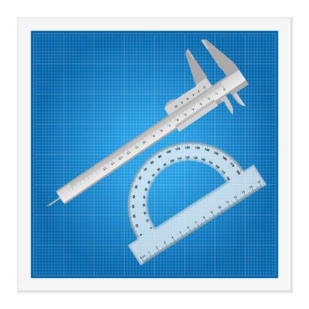pied   � coulisse: Blueprint et instruments r�gle sur un fond blanc.