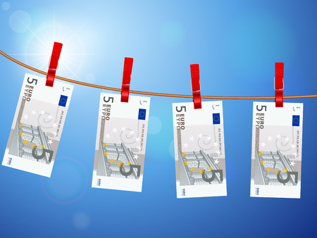 pegs: Euro banknotes hanging on a clothesline against a sky.
