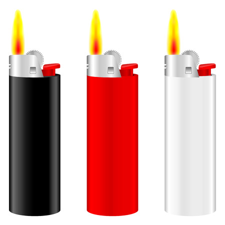 ljusare: Lighter with fire set on white background. Illustration