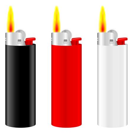 butane: Lighter with fire set on white background. Illustration