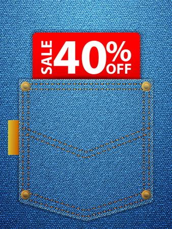 Sale off tag in blue denim pocket. Vector