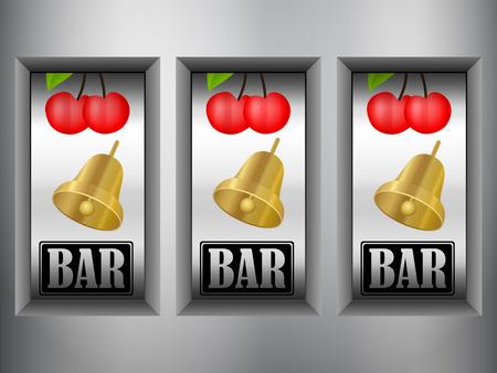slot in: Winner triple in slot machine. Illustration