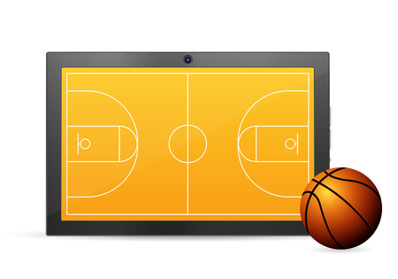palmtop: Tablet basketball on a white background. Vector illustration.