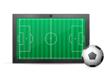 palmtop: Tablet soccer on a white background. Vector illustration.