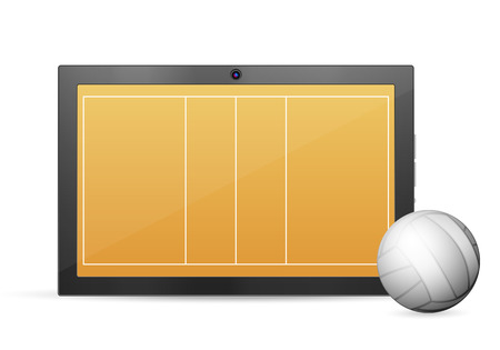 palmtop: Tablet volleyball on a white background. Vector illustration.